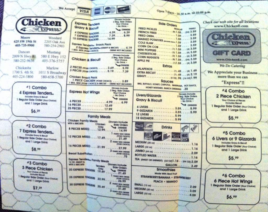Chicken Express Menu
