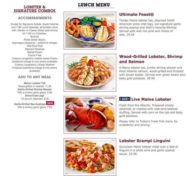 Menu at red lobster chicago w 95th street for Jj fish menu