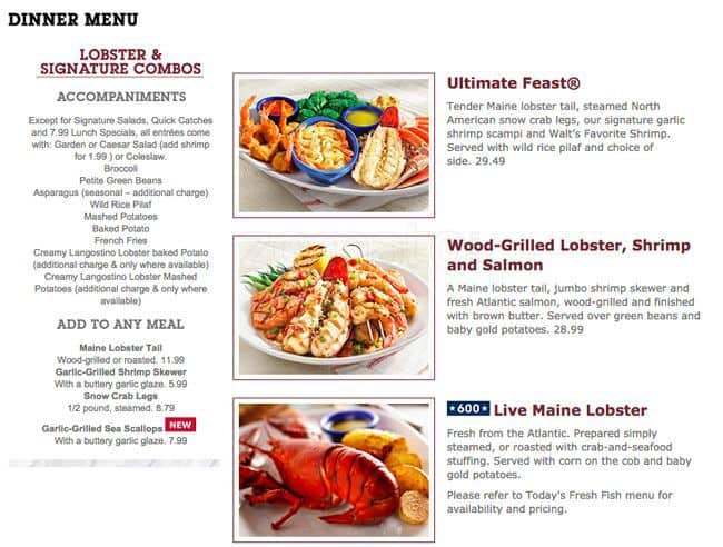 Menu at red lobster chicago w 95th street for Jj chicken and fish menu