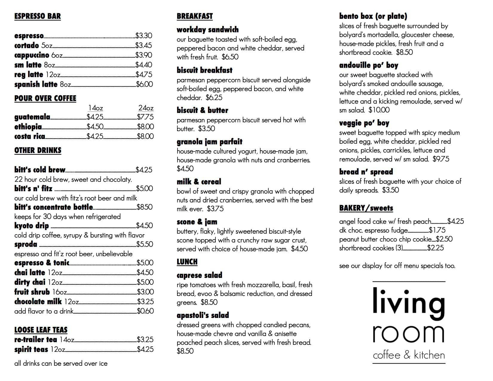 Living Room Maplewood Menu