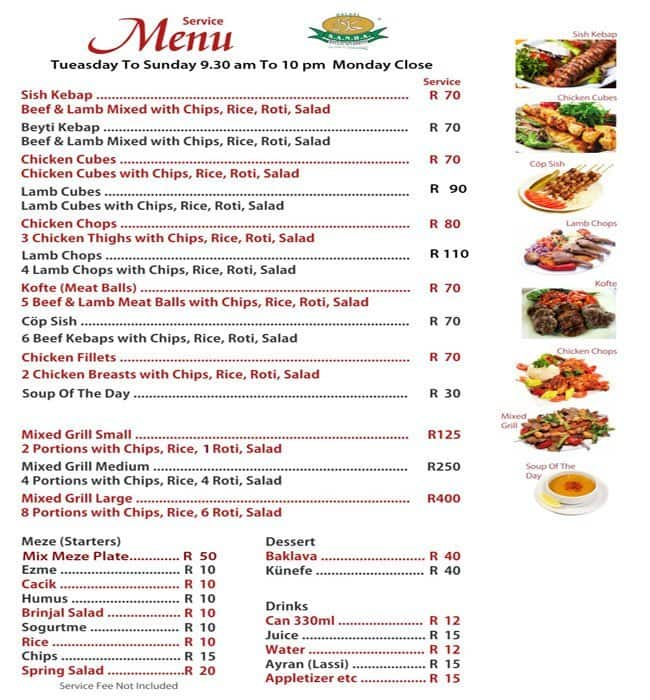 The turkish table menu men para the turkish table for Table 52 drink menu