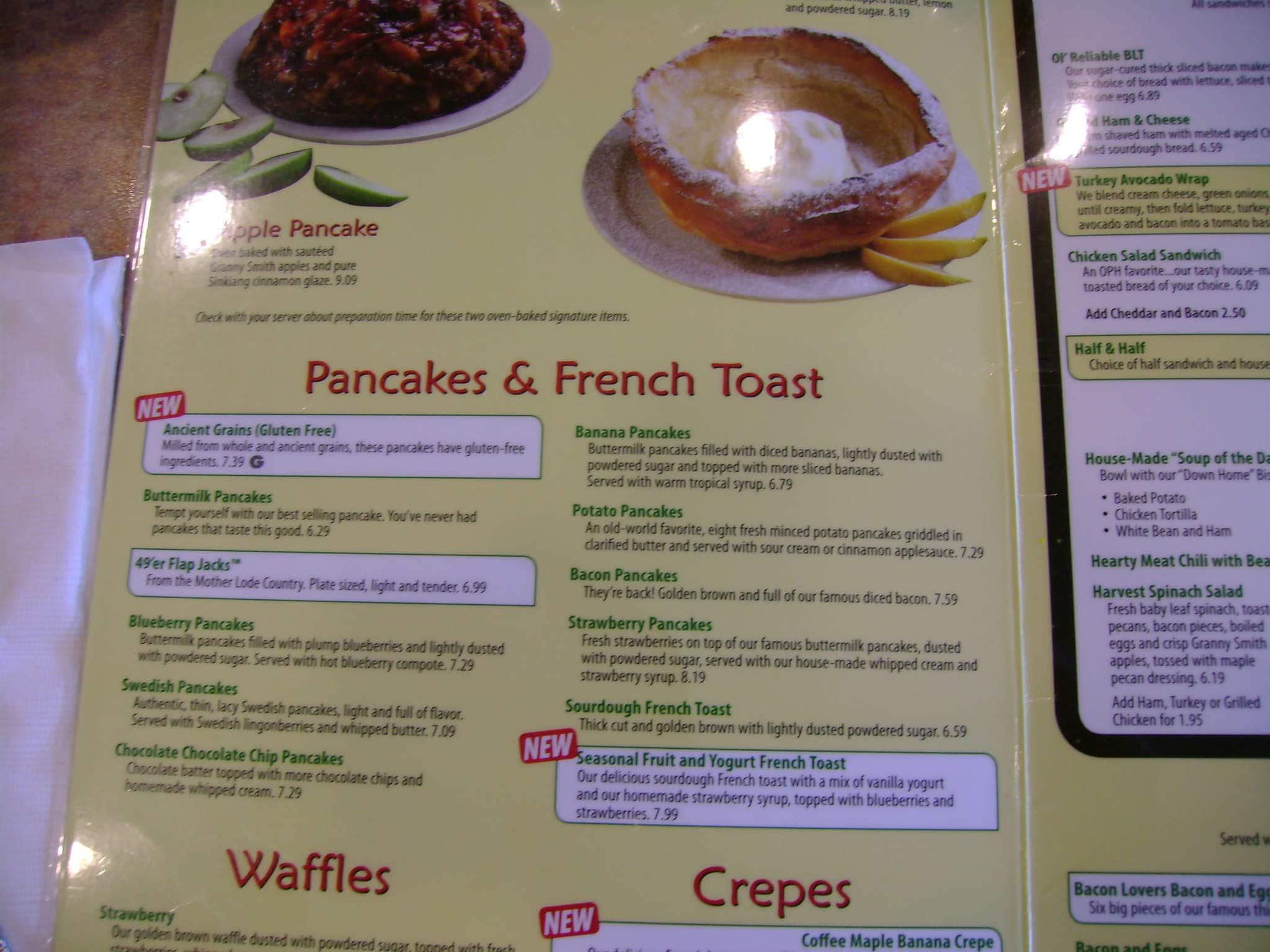 Menu at Original Pancake House TX Restaurant prices