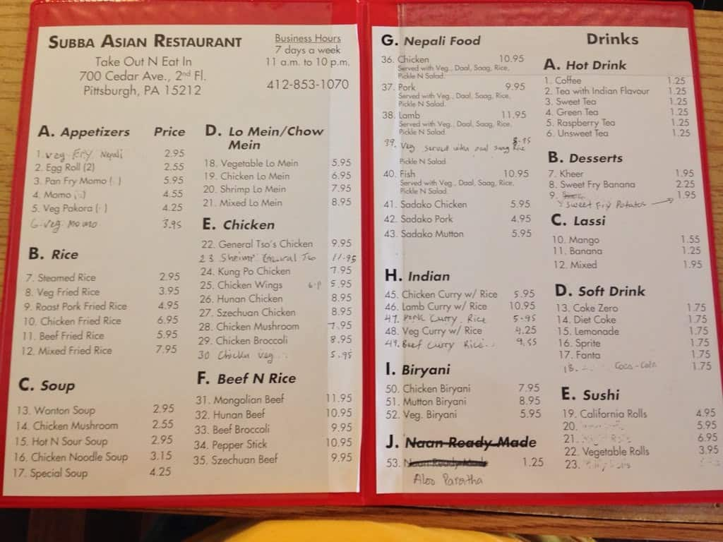 Subba asian restaurant menu menu for subba asian for Asian cuisine menu