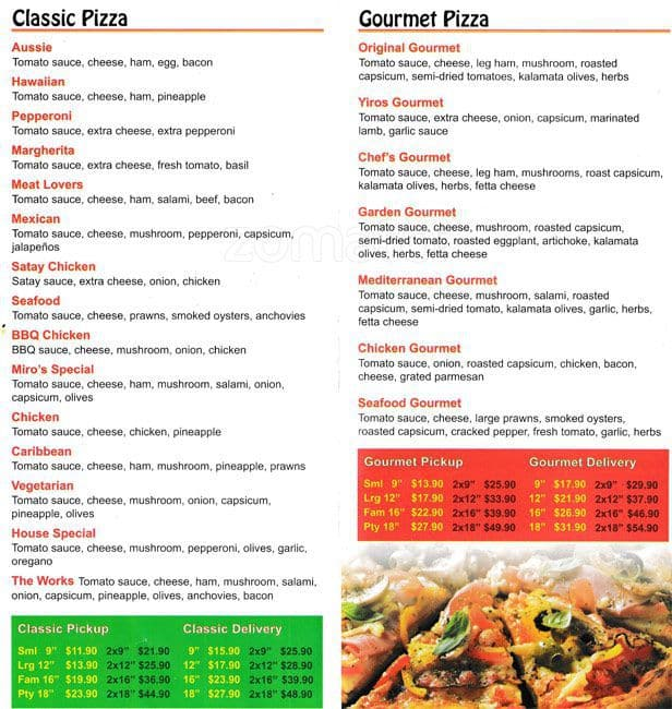 Miro 39 s pizzeria and snack bar menu urbanspoon zomato for Snack bar menu