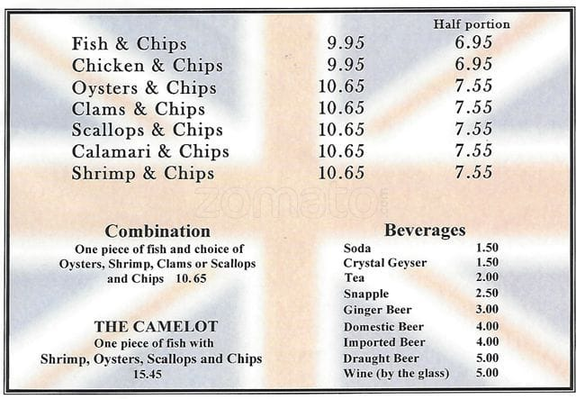 Camelot Fish & Chips Menu, Menu de Camelot Fish & Chips, Pacifica, Pacifica - Urbanspoon/Zomato