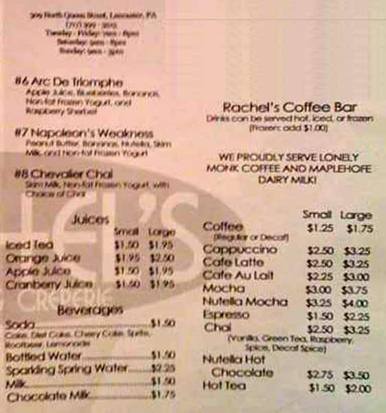 Rachel S Cafe And Creperie Menu