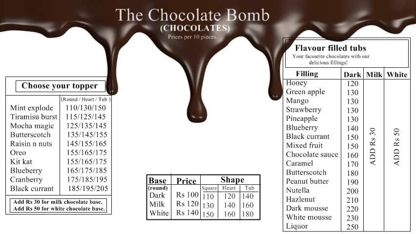 The Chocolate Bomb Menu Menu For The Chocolate Bomb Sector