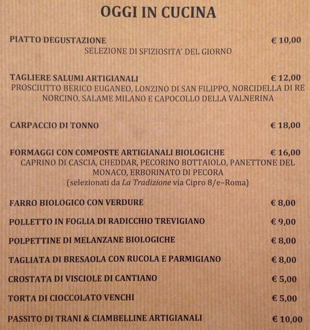 Enoteca giansanti a roma foto del menu con prezzi for Enoteca con cucina di pesce milano