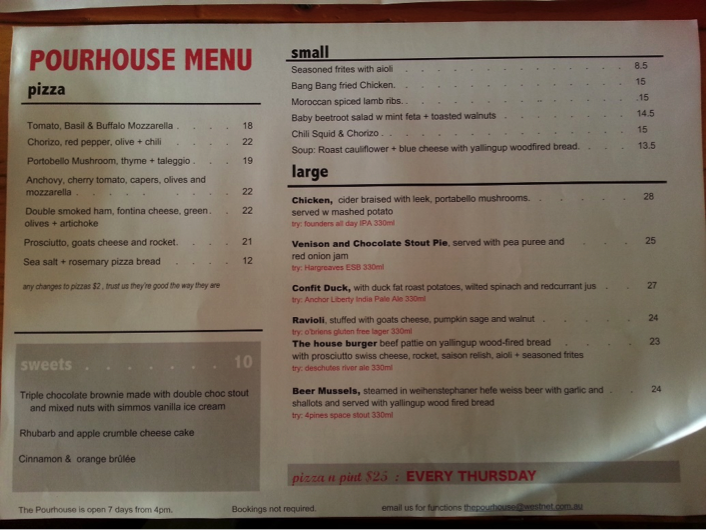 Menu at The Pour House Bar and Kitchen 26 Dunn Bay Road