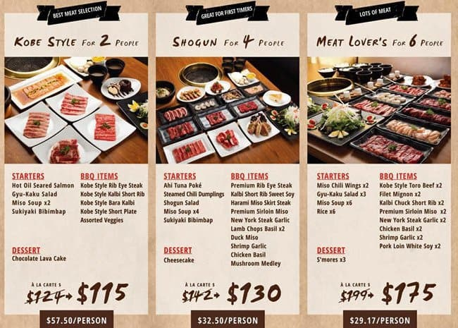 Menu At Gyu Kaku Japanese Bbq Chicago 210 E Ohio St