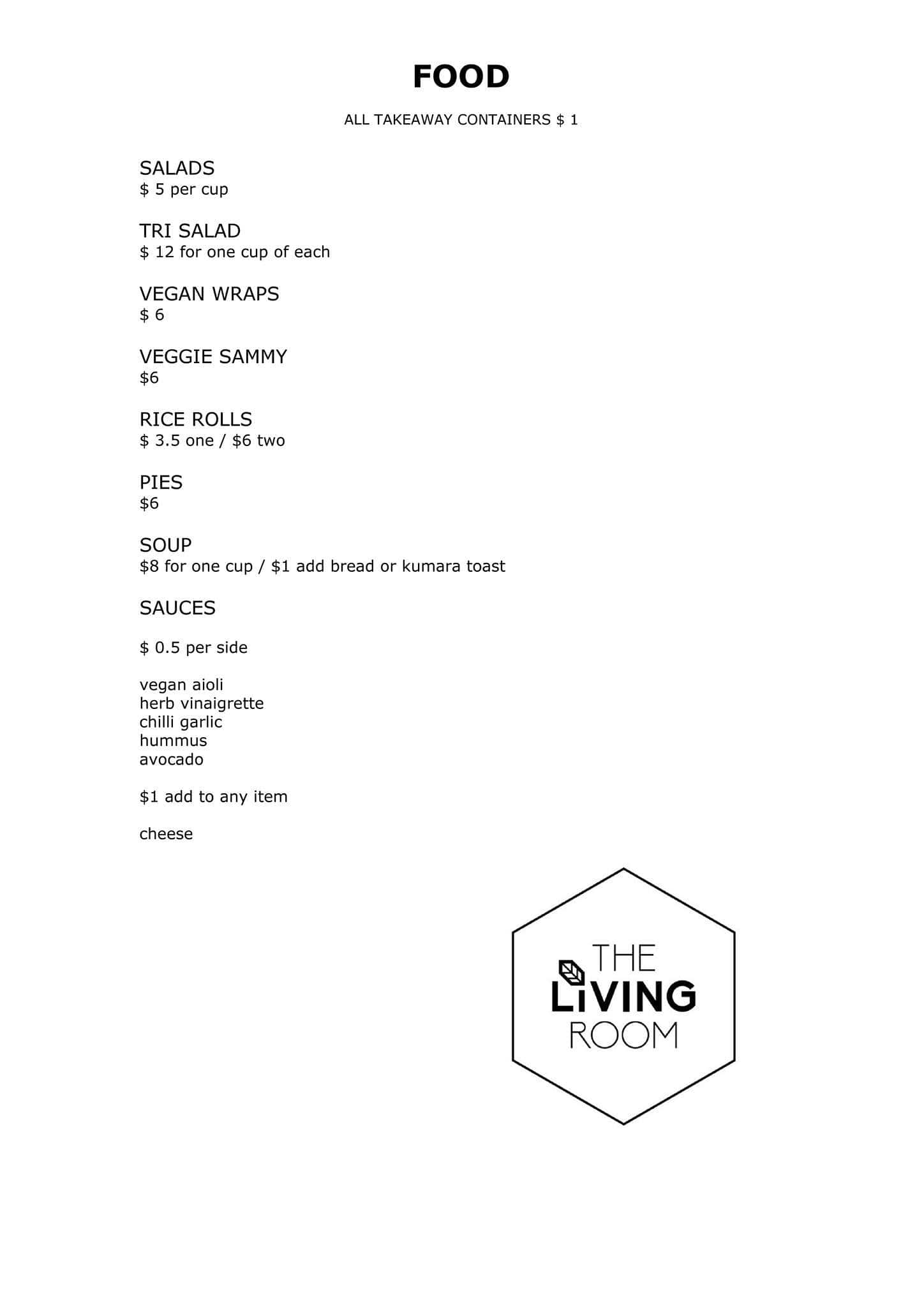 The Living Room, Devonport Menu