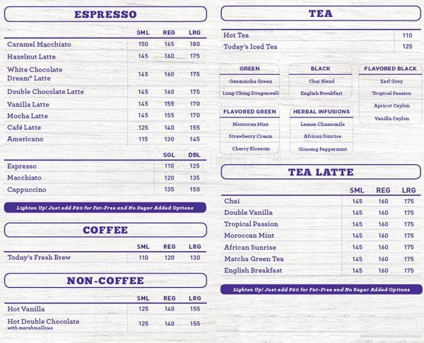 The Coffee Bean Tea Leaf Menu