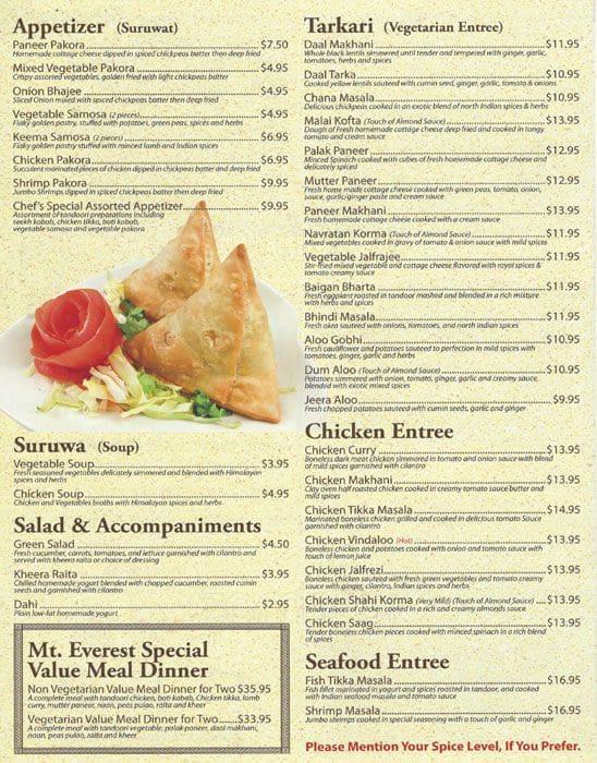 Everest Restaurant Chicago Menu Prices