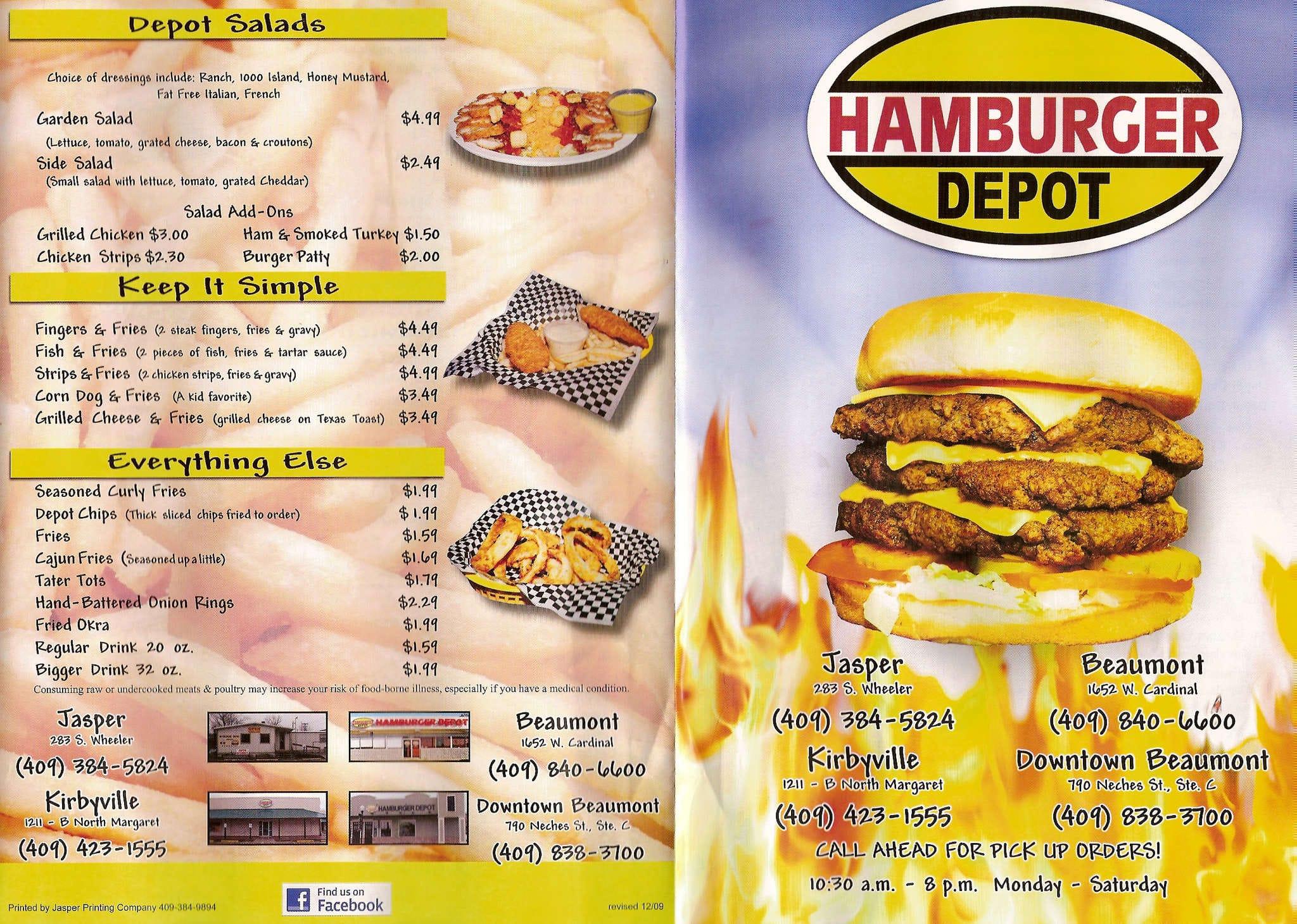 Food Depot Lunch Menu