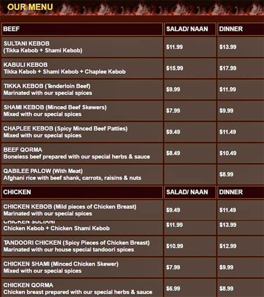 Afghan kebob menu menu for afghan kebob mississauga for Afghan kebob cuisine menu