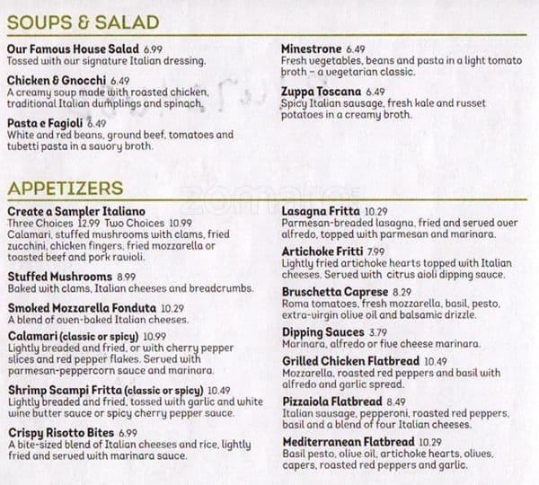 Olive Garden Menu Menu For Olive Garden Silverdale Silverdale Urbanspoon Zomato