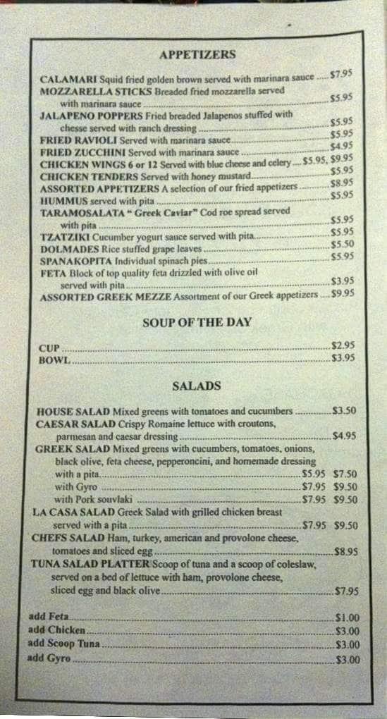 La casa restaurant menu menu for la casa restaurant - La casa alexandria ...