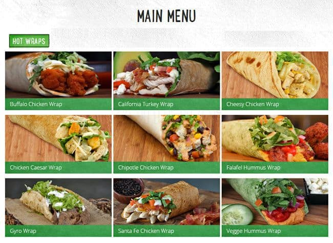 Great Wraps Menu