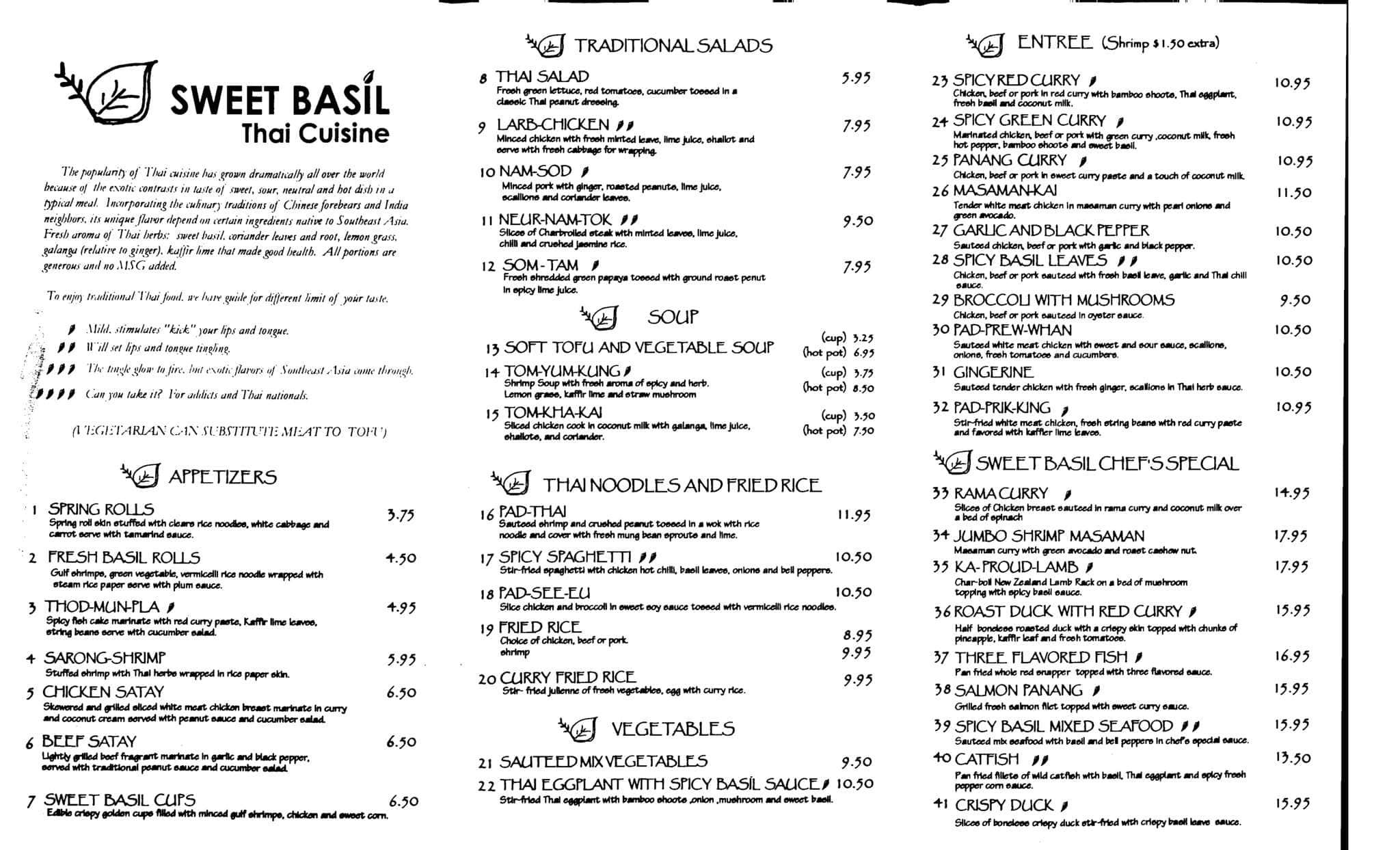 Sweet Basil Thai Cuisine Menu, Menu for Sweet Basil Thai Cuisine ...