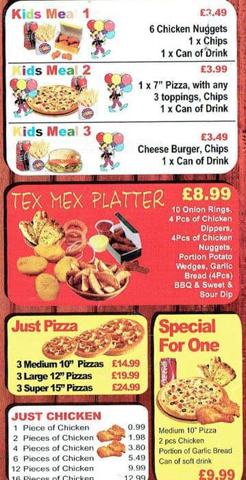 Menu At Pizza Hot 4 You Fast Food London 54 Hare Street