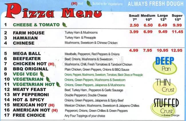 Menu At Pizza Hot 4 U Pizzeria Wallington 49 Stafford Rd