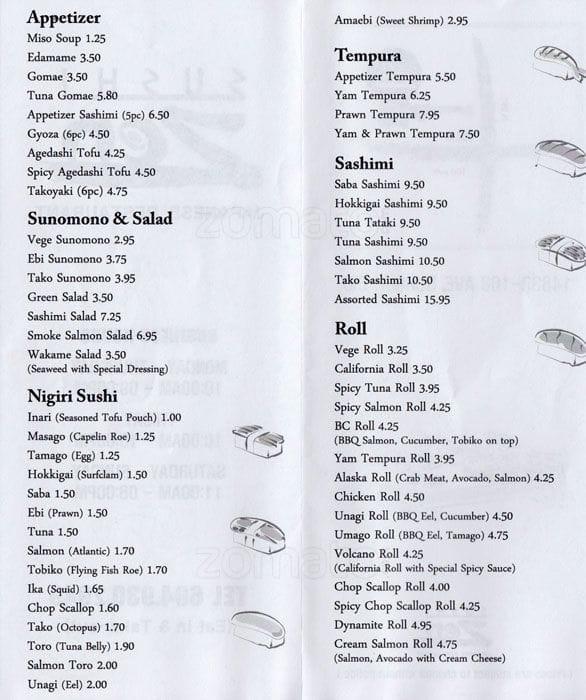 Sushi Zen Menu
