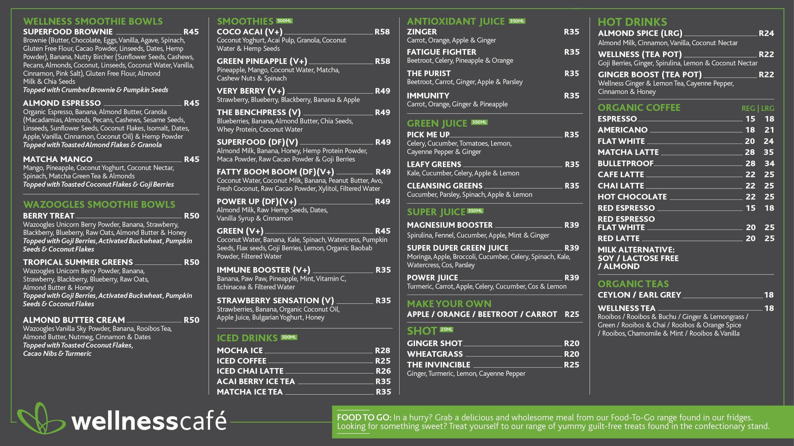 Geliebte Wellness Cafe Menu, Menu for Wellness Cafe, Waterkloof Glen @HK_71