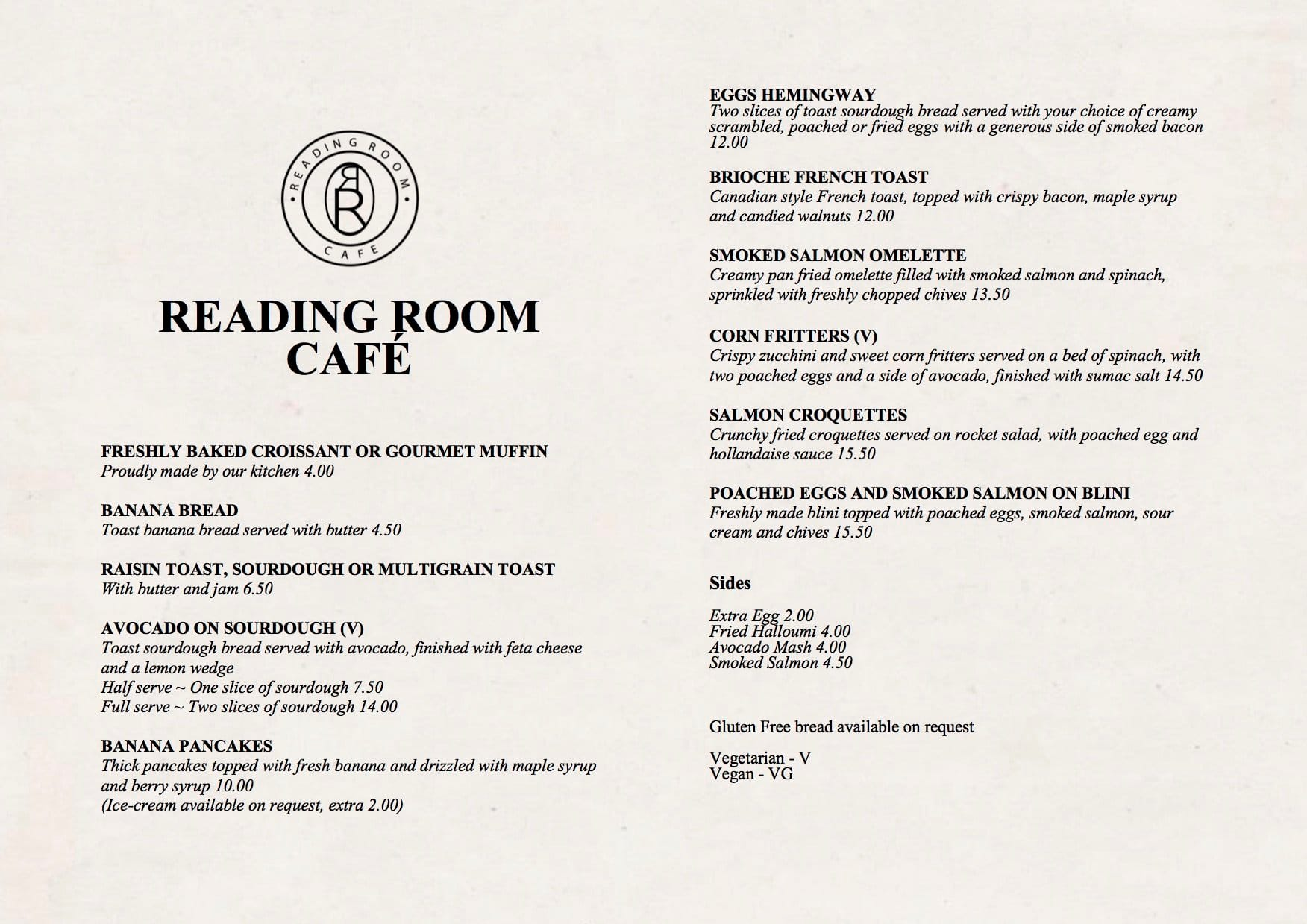 reading room cafe menu, menu for reading room cafe, footscray