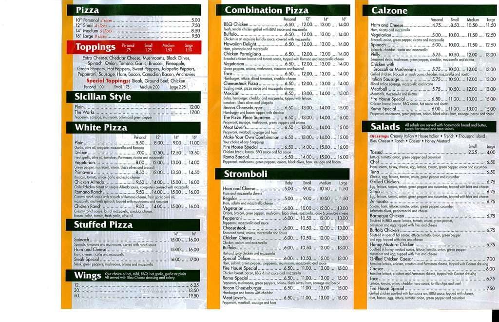 roma pizza palace menu menu for roma pizza palace highspire