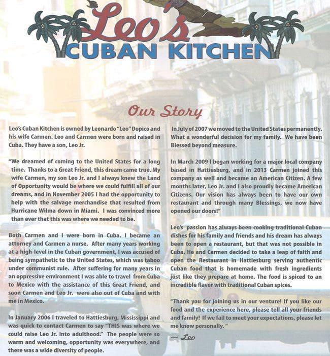 leo's cuban kitchen menu, menu for leo's cuban kitchen