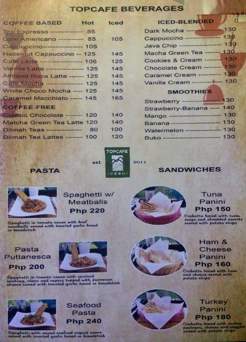 Top Cafe Cebu Menu Menu For Top Cafe Cebu Busay Cebu City