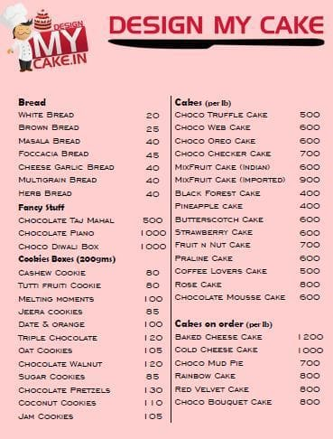 Bakes And Cakes Menu