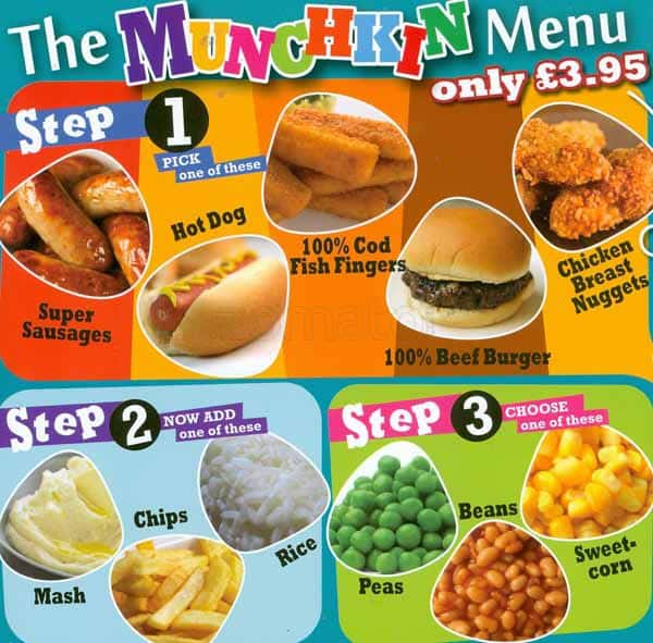 Menu for The Toy Box, Moston, Manchester
