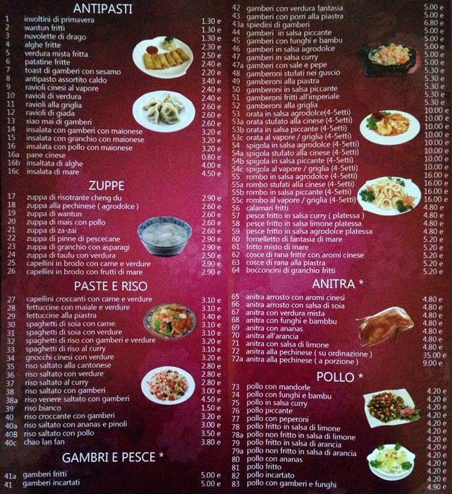 Ristorante cinese cheng du a roma foto del menu con for Menu cinese
