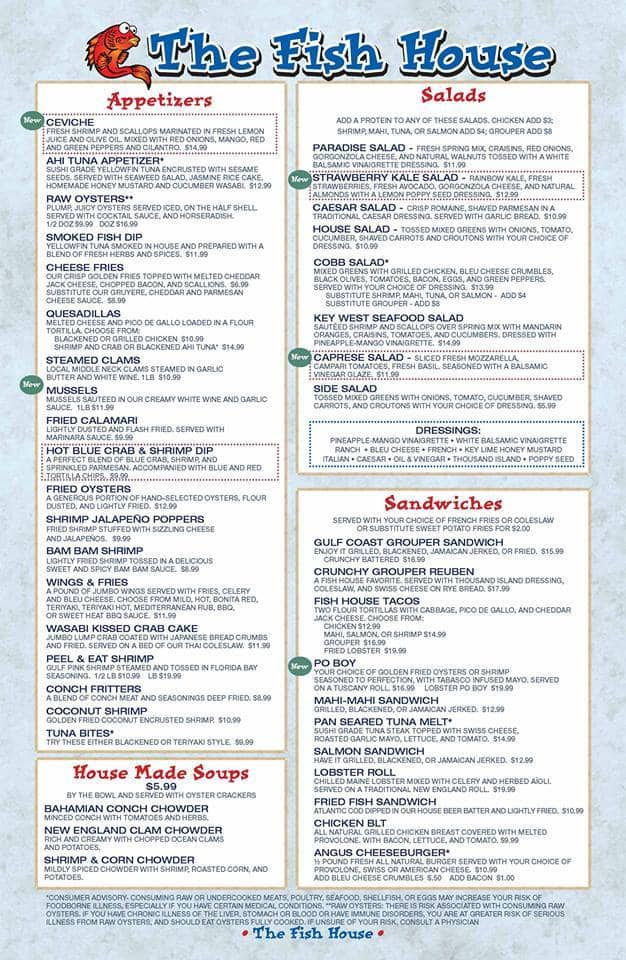 Fish house restaurant menu menu for fish house restaurant for Fish restaurant fort myers