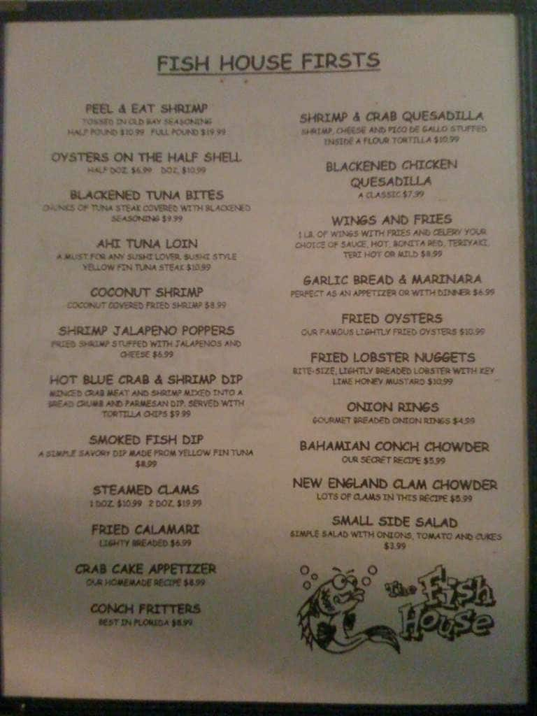 Fish house restaurant menu menu for fish house restaurant for Fish house menu