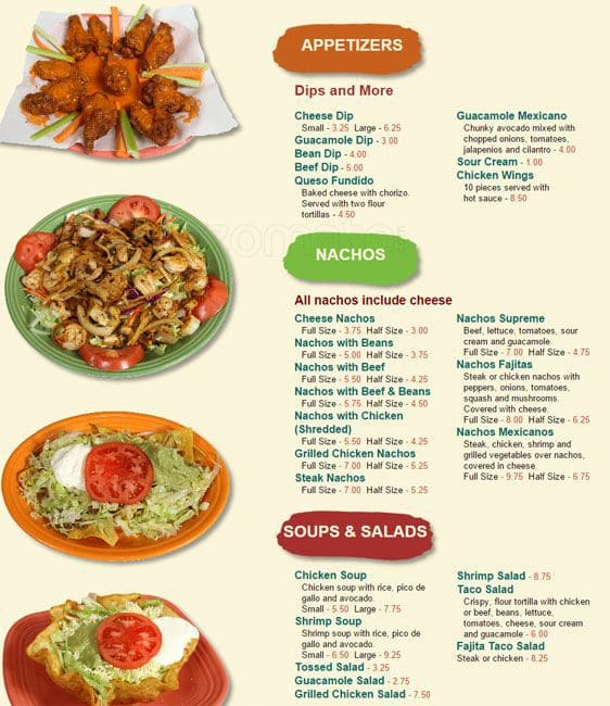 Menu For A Restaurant In Mexico