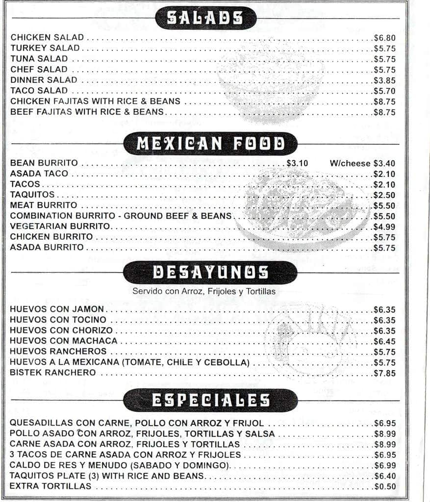 Centinela Cafe Menu