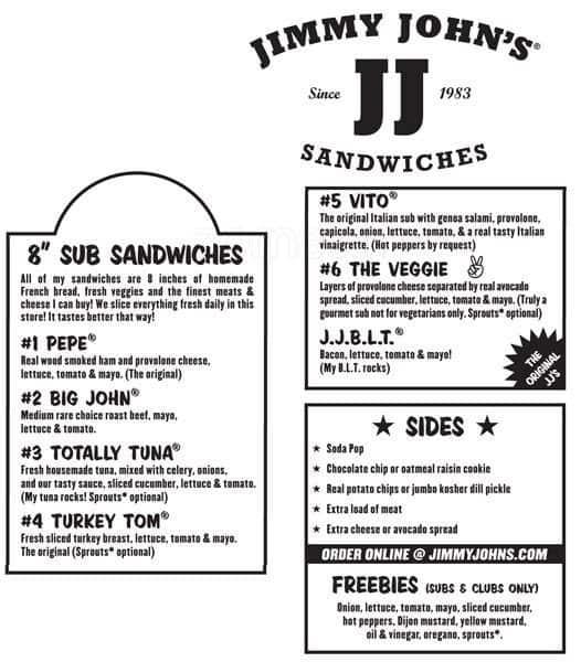 Jimmy John s Menu Menu for Jimmy John s Arlington