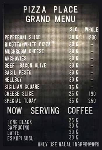 Pizza Place Menu Menu For Pizza Place Kemang Jakarta