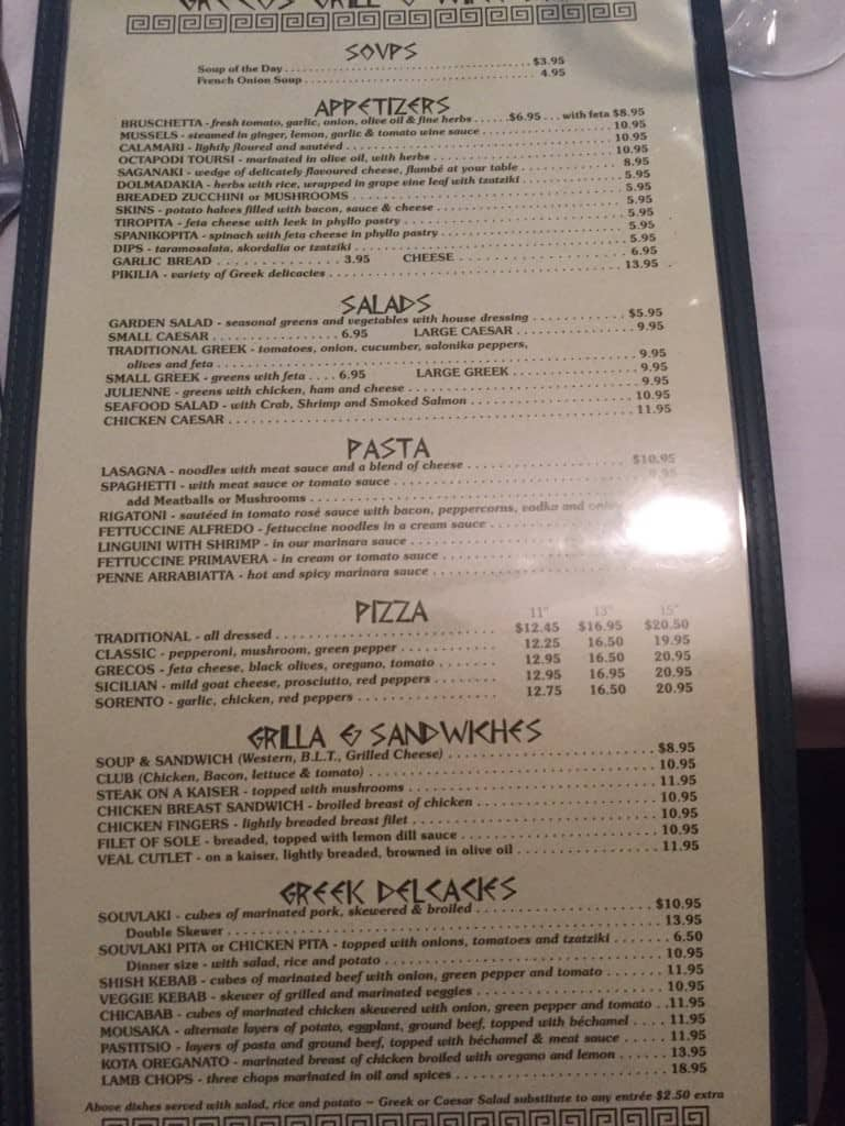 grecos wine bar and grill menu - urbanspoon/zomato
