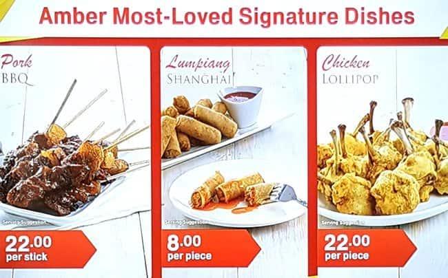 Amber asian cuisine menu