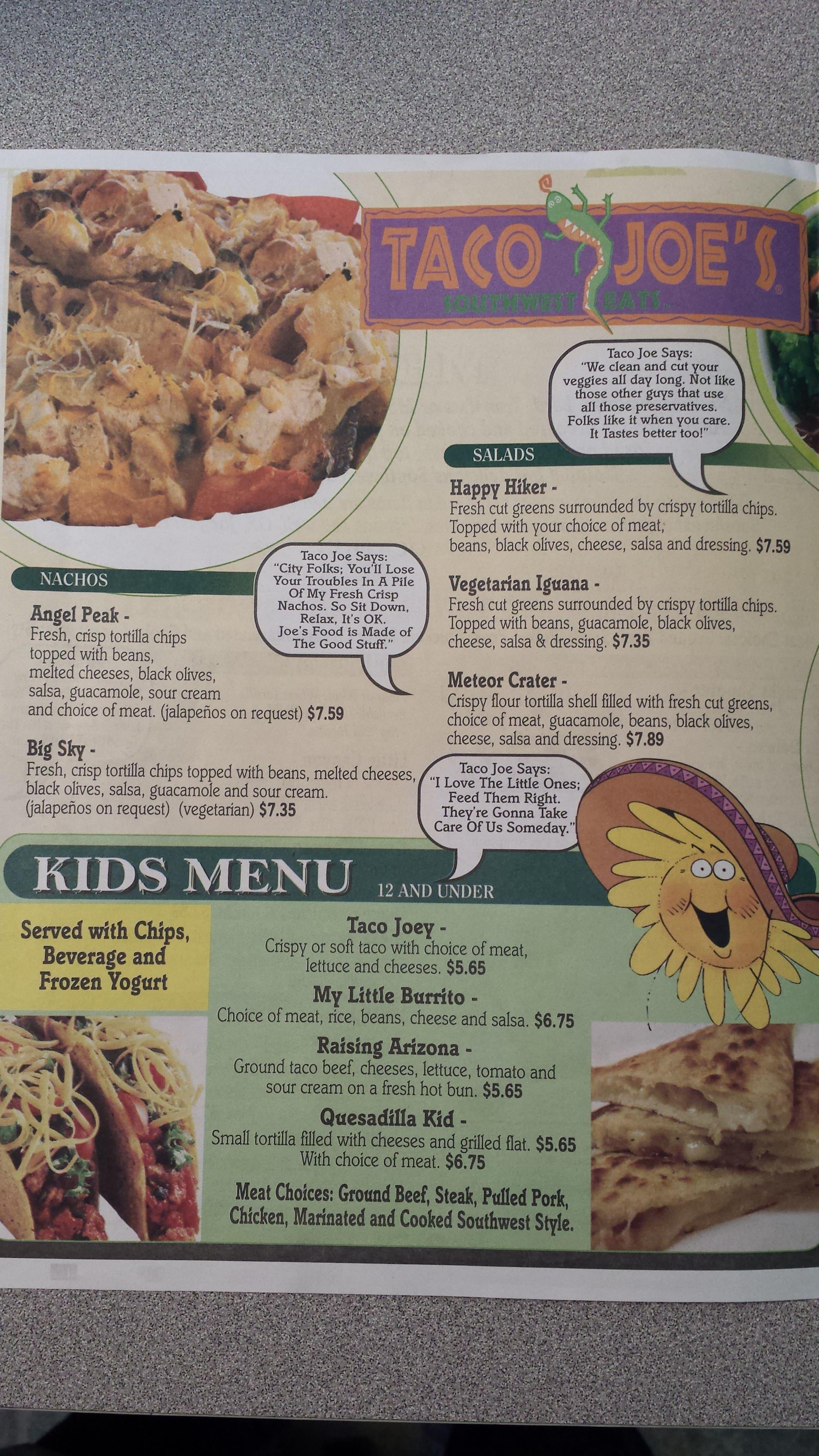 menu at taco joes restaurant, massapequa