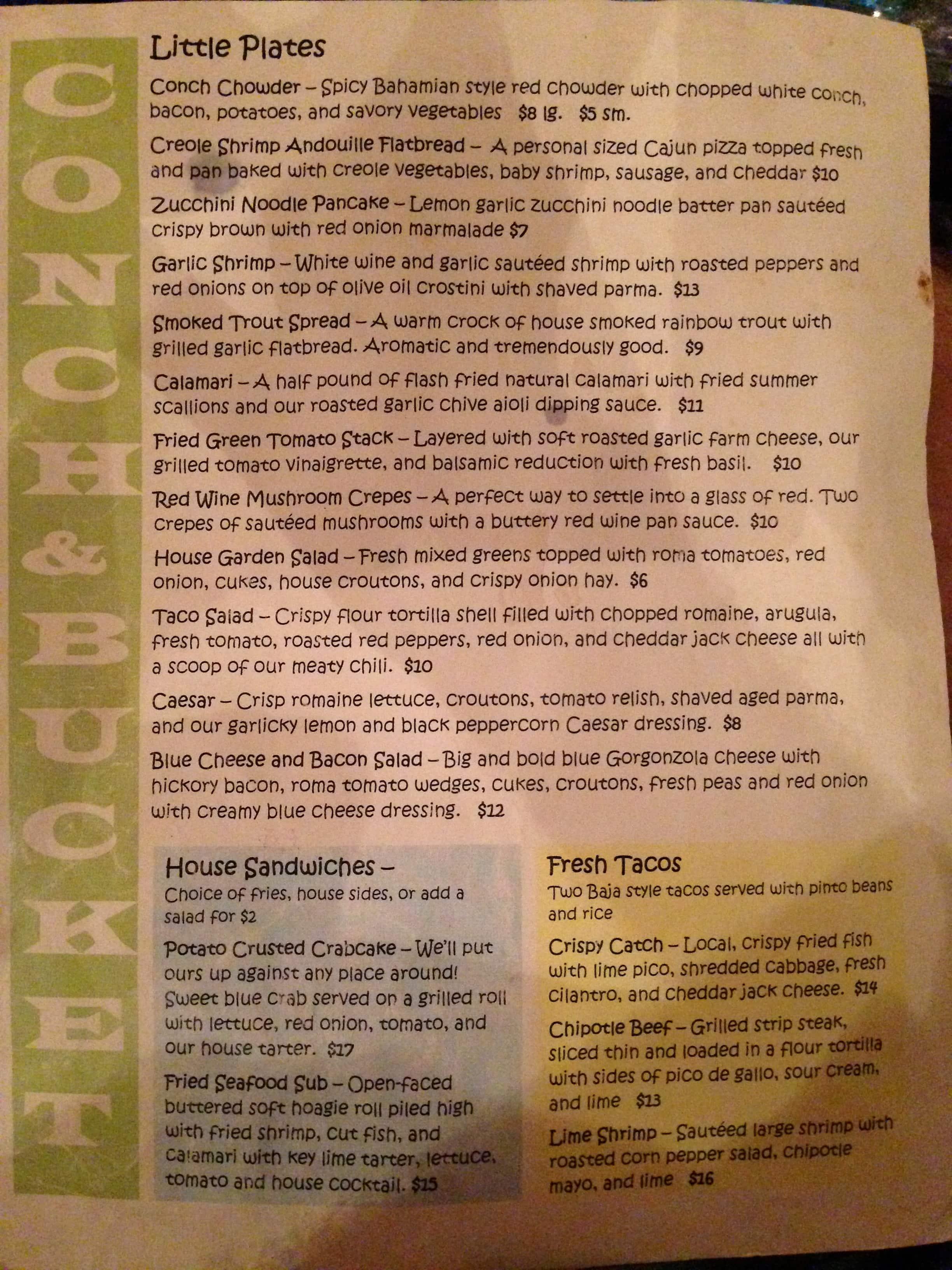 Conch and Bucket Menu, Menu for Conch and Bucket, Hampton, Hampton ...