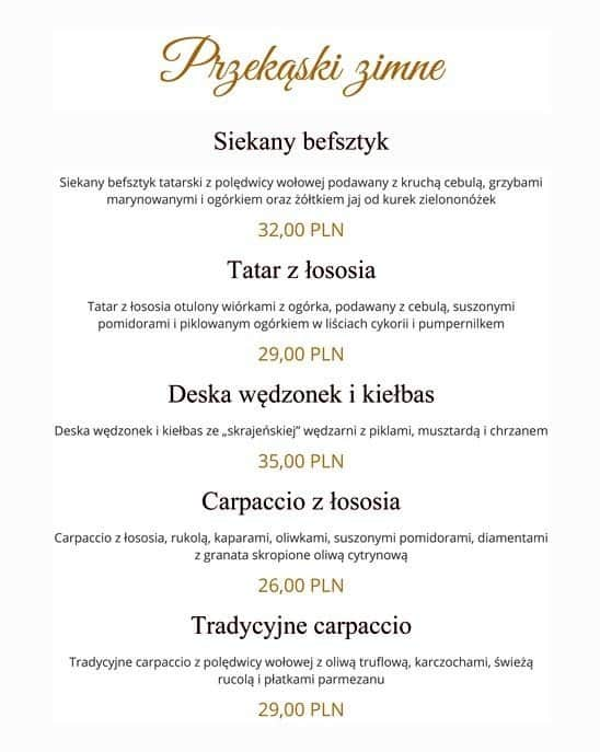 Na Skrajnej Menu Menu Restauracji Na Skrajnej Zabki Warszawa