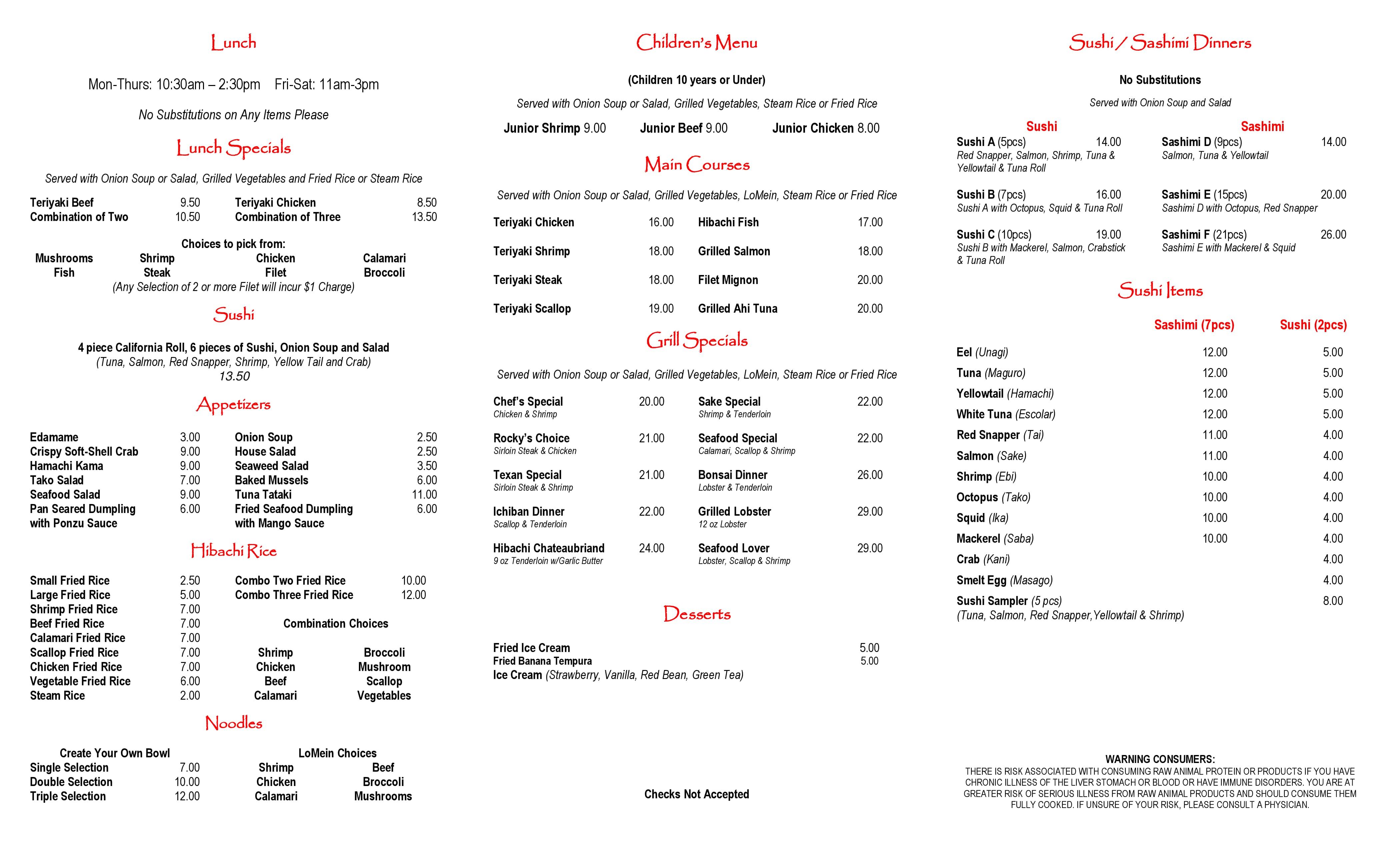 Sushi Restaurant Menu Items