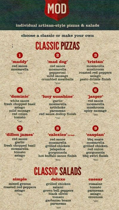 mod pizza menu  menu for mod pizza  northbrook  chicago