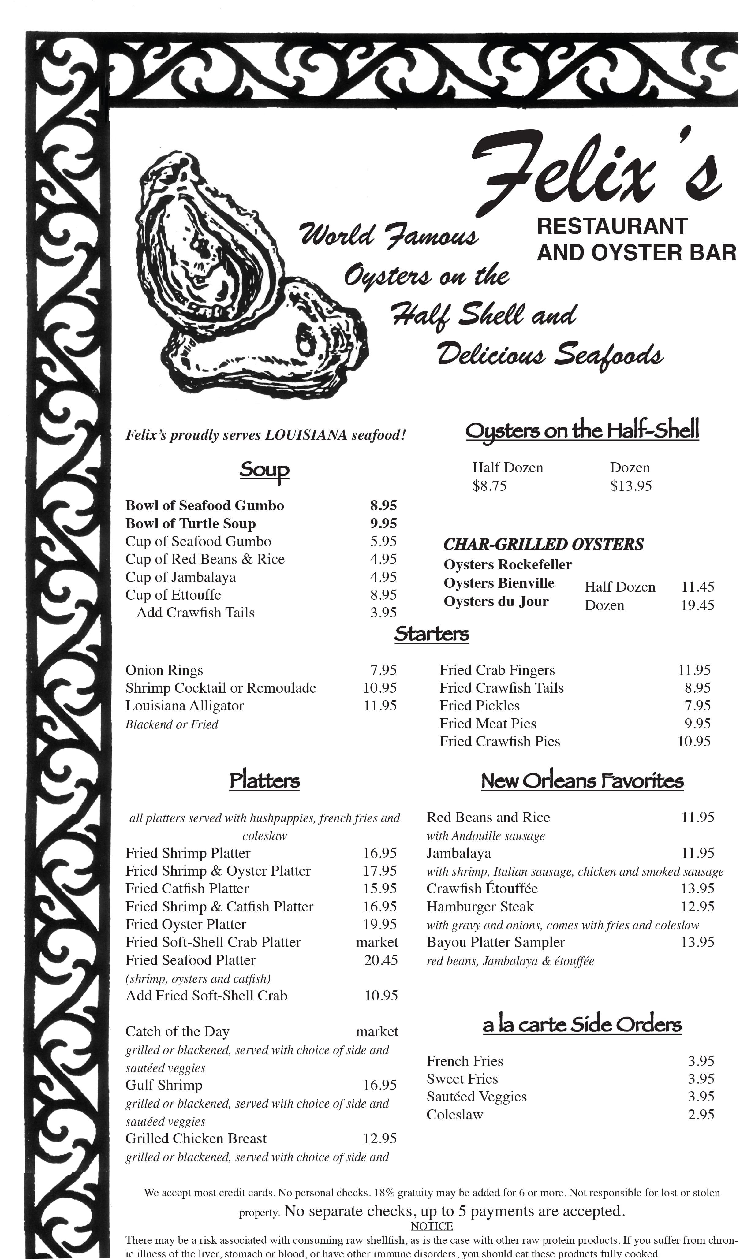 Felix 39 s restaurant oyster bar menu urbanspoon zomato for Bar food la menu