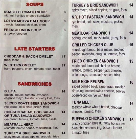 South City Kitchen Menu: Roxy Diner Menu, Menu For Roxy Diner, Hell's Kitchen, New