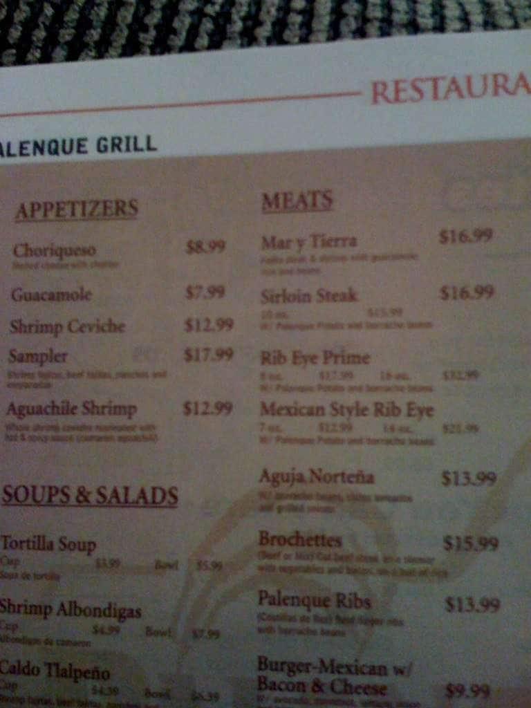 Palenque Grill Mcallen Menu  Menu For Palenque Grill